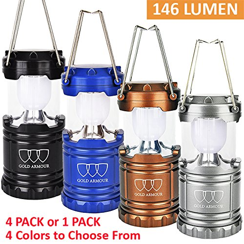 [1 Pack and 4 Pack] GoldArmour LED Camping Lantern Flashlights For Backpacking & Camping Equipment Lights – Best Gift Ideas (AA Batteries Included)