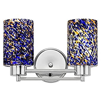 Blue Glass Vanity Light : Modern Bathroom Light with Blue Glass in Chrome Finish - Vanity Lighting Fixtures - Amazon.com