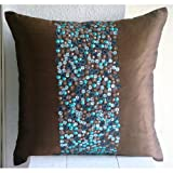 Cocoa & Turq - Decorative Pillow Covers - Silk Pillow Cover Embellished with Beads & Sequins