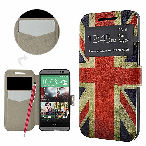 FonGup HTC ONE M9 Hülle - [2 in 1 Set] Retro England Flagge UNION JACK UK-Fahne Design Lederhülle Schutzhülle Ledertasche für HTC One M9 (2015) mit [S-View und Standfunktion] Sichtfenster Smart View Window Handytaschen Classic Series Magnetic Closure Leather Case [Built-in Karten Slots] Brieftasche Flip Cover Leder Schale Etui Schutz +1x Eingabestift Ballpoint Kugelschreiber Stylus Pen