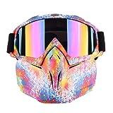 Mexidi Detachable UV Protective Motorcycle Goggles Mask Anti-Fog Protective Ski Goggles, Adjustable Windproof Outdoor Paintball Airsoft Mask Face Shield for Kids Youth Men Women (Graffiti) (Color: Graffiti, Tamaño: Medium)