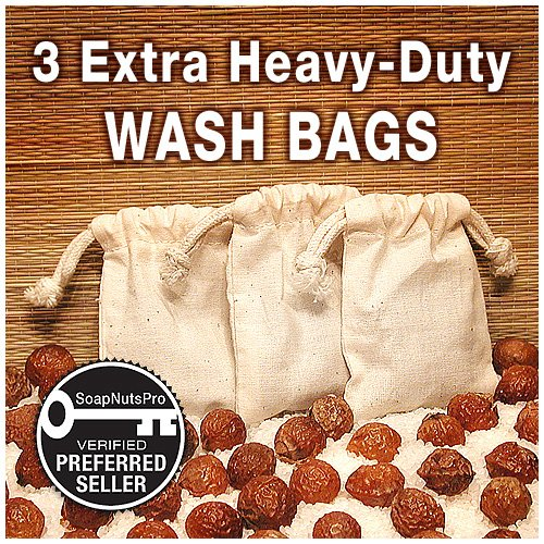 NaturOli Soap Nuts Wash Bags (Set of 3) Large, Extra-heavy-duty, Muslin, Double-Draw. UNPRINTED! No inks to come off in your wash.