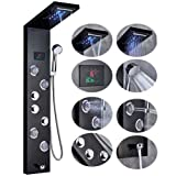 Rozin Black New LED Light Watefall Rainfall Shower Panel Faucet Wall Mount Bathroom Three Handles Shower Tower with Massage Jets and Hand Sprayer Head (Color: LED-Black-9001)