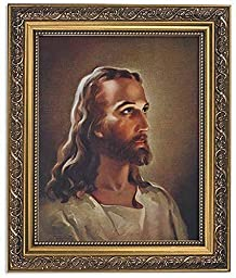 Sallman: Head of Christ Series Print in Ornate Gold Finish Frame by US Gifts