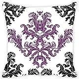 Leaf Designs Black And Purple Cushion Cover
