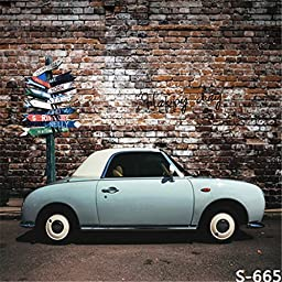 Retro Brick Wall Photography Backdrops White Car with Road Signal Photo Background
