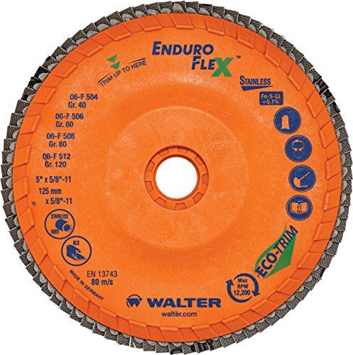 Walter Surface Technologies 15Q458 Enduro-Flex Stainless Abrasive Flap Disc, Type 29, 80 Grit, 7/8