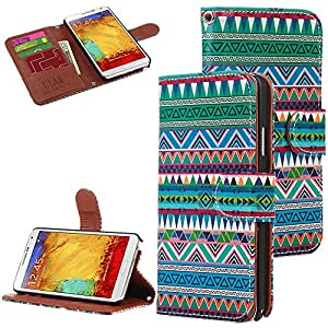 Pandamimi ULAK(TM)Samsung Galaxy Note 3 Note III N9000 PU Leather Aztec Tribal Design Wallet stand Case cover with Screen Protector (Green)
