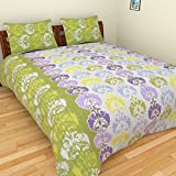 BeautifulHOMES 180 TC Cotton Double Bedsheet with Two Pillow Covers - Multi Color, CF025