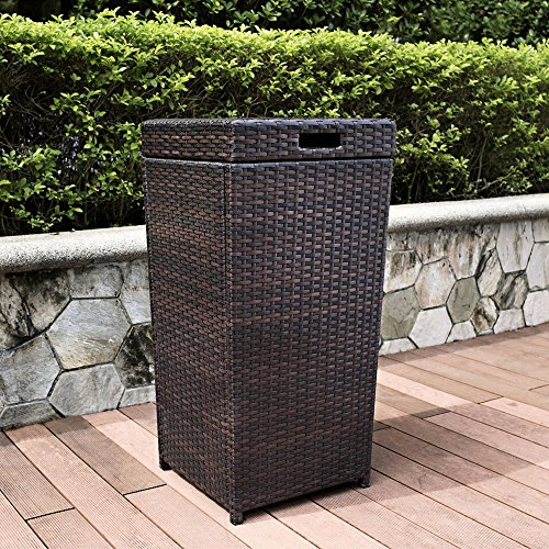Crosley Palm Harbor Outdoor Wicker Trash Bin, Brown (Wicker Garbage Can compare prices)