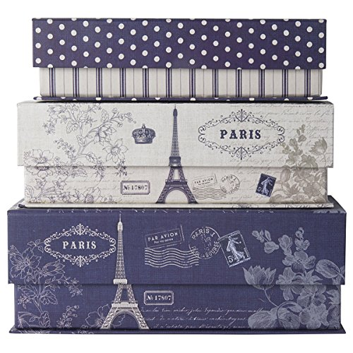 Set of 3 Nesting Gift Boxes Flip Top Hinged Magnetic Lids Travel Decor & Storage Organization (Paris Storage Box compare prices)