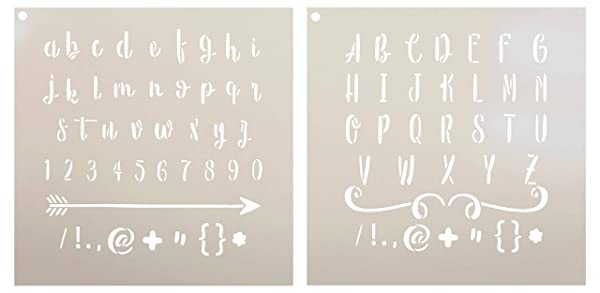 Lettering - Upper & Lower Case Alphabet Stencil - 2 Part by StudioR12 | Reusable Mylar Template | Use to Paint Wood Signs - Pillows - Monogram - DIY Lettering Projects - Select Size (16 x 16) (Tamaño: 16 x 16)