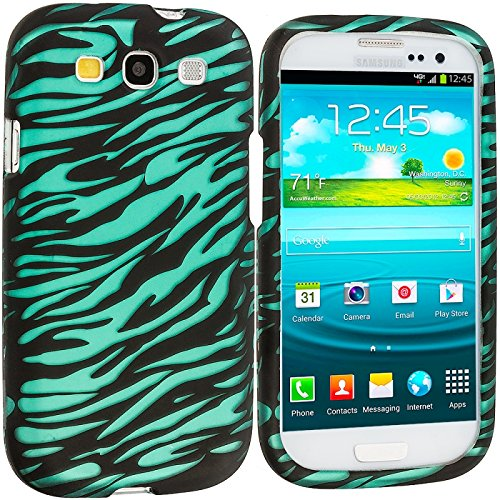 Cell Accessories For Less (Tm) Black/Baby Blue Zebra 2D Hard Rubberized Design Case Cover For Samsung Galaxy S3 - By Thetargetbuys front-775420