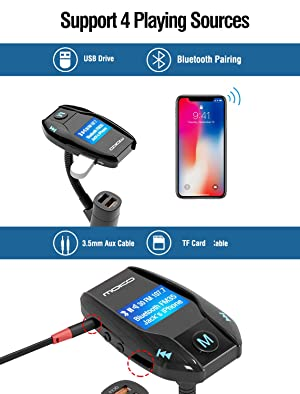 [Upgraded Version] FM Transmitter with QC 3.0 Port, MoKo Wireless In-Car Radio Adapter Audio Receiver Handsfree Calling Car Kit & 1.44 Display Suppor
