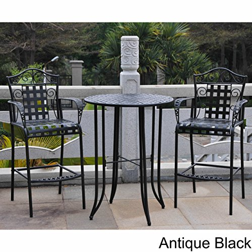 3-piece Bistro Set with 2 Bar Chairs and a Table. Four Different Colors to Choose From. Made of Iron. Indoor or Outdoor Patio Furniture. Scented Tart Included (Antique Black) 0