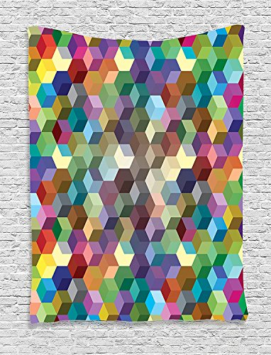 Abstract Color Cubes Mosaic Party Festive Theme Modern Fun Geometric Artwork Olive Blue Purple Teal Supersoft Throw Fleece Blanket 59.05