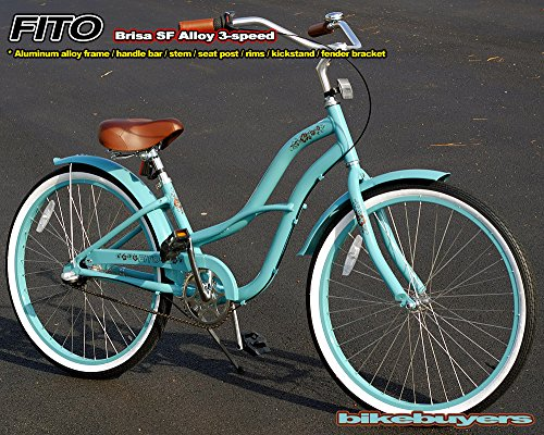 "Aluminum Alloy Anti-Rust Frame, Fito Brisa SF Alloy 3-speed - Sky Blue, women's 26"" wheel Beach Cruiser Bike Bicycle, Shimano Nexus Equipped"