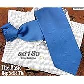 (センチュリーコンパス) ブルー 西陣織正絹レップ織無地ネクタイ sd18c
