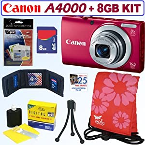 Canon PowerShot A4000 IS 16.0 MP Digital Camera with 8x Optical Image Stabilized Zoom (Red) + 8GB Accessory Kit