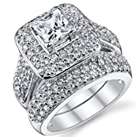 .925 Sterling Silver Princess Cut Cubic Zirconia Wedding Ring Set