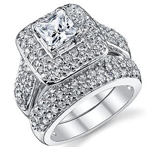 1 Carat Princess Cut CZ Sterling Silver 925 Wedding Engagement Ring Band Set Size 5.5