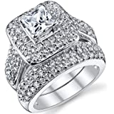 Ultimate Metals Co. 1 Carat Bague de Fiancaille et Alliance Argent Sterling 925 Avec Zircone Cubique Princesse