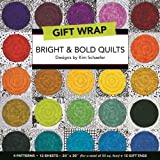 """Bright & Bold Quilts Gift Wrap: 4 Patterns, 12 Sheets_20"""" × 30"""" for a total of 50 sq. ft. + 12  Gift  Tags"""