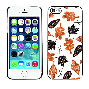 Omega Covers - Snap on Hard Back Case Cover Shell FOR Apple iPhone 5 / 5S - Autumn Fall Leaves White Pattern Brown