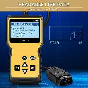 V310 Enhanced OBD II Auto Code Reader Check Engine Light CAN Car Diagnostic Scan Tool Display Vehicle RealTime Curve VXDAS OBD2 Scanner