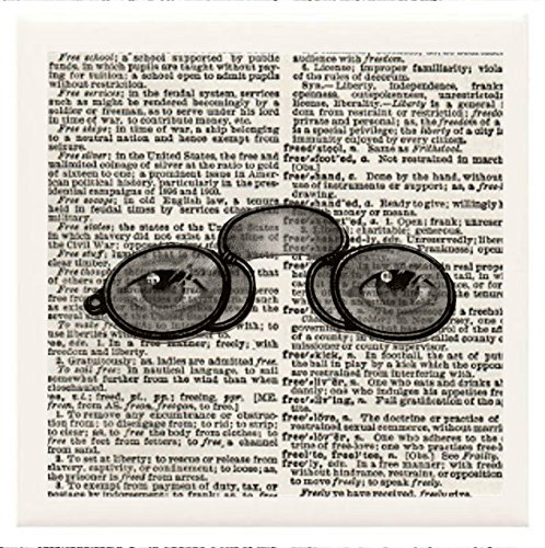 """Hand Made Coasters [Set Of 4] - Steampunk """"Spectacles (Glasses) With Eyes"""" Artwork Combines With Vintage Dictionary Pages, Ceramic Tiles And Specialty Materials To Create These Coasters From Our Modern Art Design Collection - A Stylish And Chic Way To Add front-327821"""