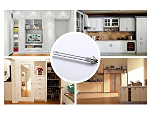 Yarachel Hydraulic Support Cabinet Hinge - 2 Pair/4 PCS 100N Soft Close Lid Supports & Buffer Telescopic Cabinet Door Gas Spring Glue Head Supports
