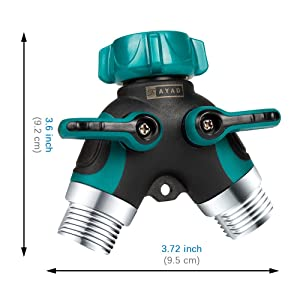 ZAYAD Y Hose Splitter 2 Way, Body Metal Garden Hose Connector with Comfortable Rubberized Grip with Outdoor Faucet, Sprinkler & Drip Irrigation System