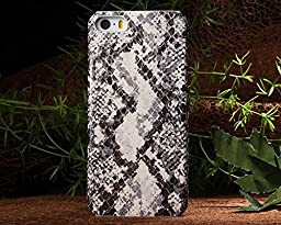 Iphone 5S Case,E-Age Luxury Genuine Snake Skin Leather Case Hard-Shell Cover for iPhone 5/5S (A2)