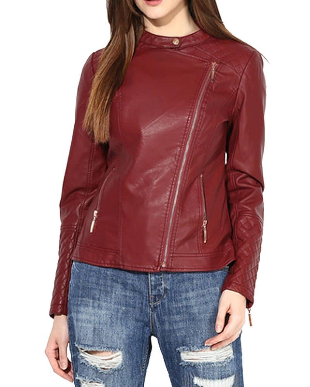 Lurap Women's Maroon Faux Leather Polyurethane