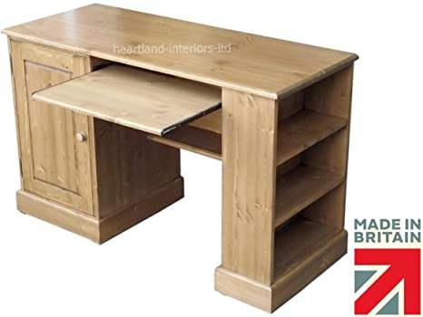 Solid Pine Desk, Handcrafted & Waxed Computer, Laptop Workstation with Adjustable Side Media Storage. Choice of Colours. No flat packs, No assembly (SPD7)