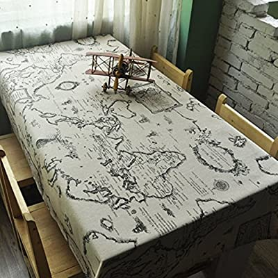 Ustide New Exotic Flowers National Wind World Map Design House Restaurant Cotton and Linen Tablecloth Table Cloth Art Home Decor