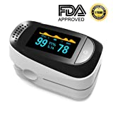 Pulse Oximeter Portable Digital Oxygen Sensor with SPO2 Alarm FDA Approved For Adults and Children (Light Blue)