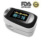 Pulse Oximeter Portable Digital Oxygen Sensor with SPO2 Alarm FDA Approved For Adults and Children (Color: Black)