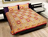 Jaipur Fab Screen Print Cotton Double Bedsheet With Two Pillow Covers