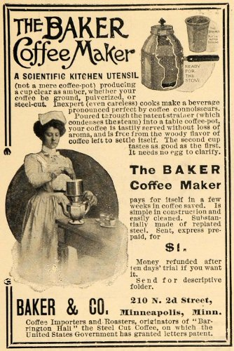 1903 Ad Baker & Co. Coffee Maker Kitchen Utensil Maid - Original Print Ad