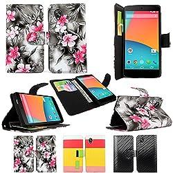Cellularvilla LG Google Nexus 5 PU Leather Wallet Card Flip Open Pocket Case Cover Pouch (Black Pink Flower)
