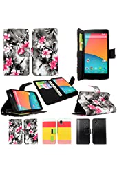 Cellularvilla LG Google Nexus 5 PU Leather Wallet Card Flip Open Pocket Case Cover Pouch (Black Pink Flower)