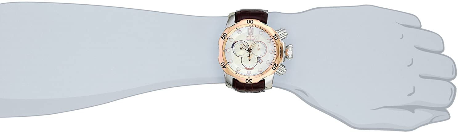 Jason Taylor for Invicta Collection 12961 Reserve Chronograph Silver Patterned Dial Brown Leather Watch