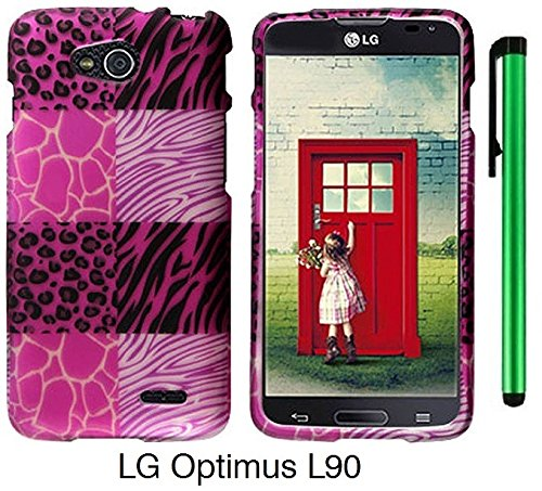 Premium Vivid Design Snap-On Protector Hard Cover Case For Lg Optimus L90 (D415) (Us Carrier: T-Mobile) + 1 Of New Assorted Color Metal Stylus Touch Screen Pen (Pink Exotic Skins : Leopard & Zebra & Block Sign)