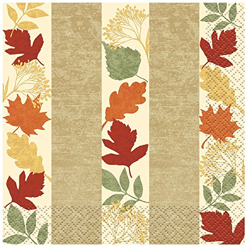 Painted Leaves Fall Beverage Napkins, 16ct