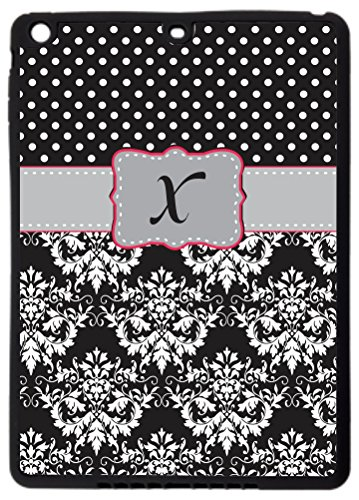 "Rikki Knighttm Rikki Knight Initial ""X"" Grey Pink Black Damask Dots Monogrammed Ipad Air Smart Case For Apple Ipad® Air - Full Coverage Ultra-Thin Smart Cover With Automatic Wake And Sleep And Facetime, Movie, And Keyboard Stand front-611732"