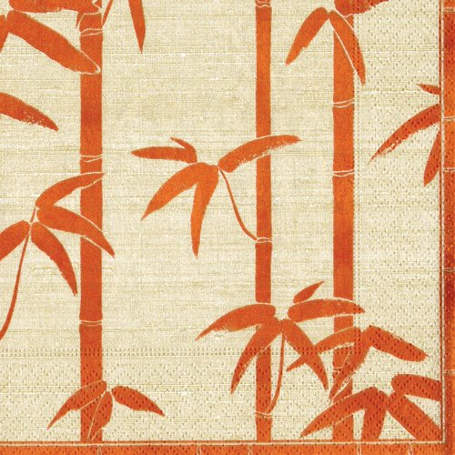 Entertaining with Caspari Bamboo Silk Paper Cocktail Napkin, 20-Count, Coral
