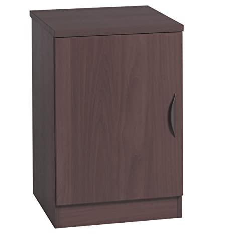 Home Office Furniture UK B-C48-IN-WN Cupboard Small Narrow Bookcase with Door, Wood, Walnut, Wood Grain Profile