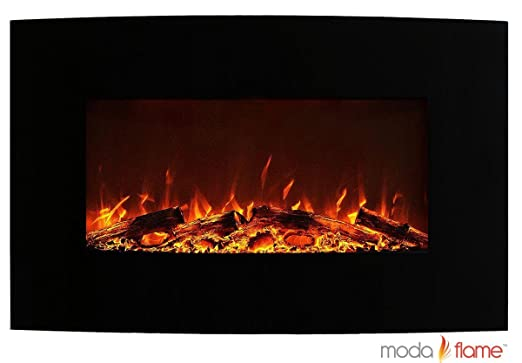 "Moda Flame Chelsea 35"" Curved Black Wall Mounted Electric Fireplace"