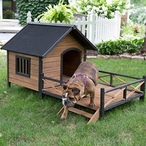 large dog house lodge with porch deck kennels crates solid fir wood spacious deck for sunny nap insulated keep rain out outdoor 67w x 31d x 38h from boomer